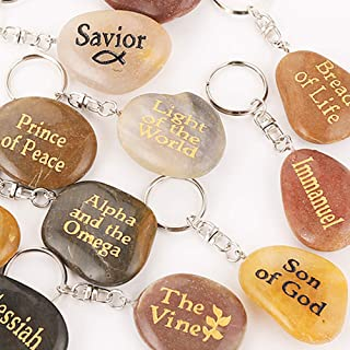 Names of Jesus Christ INRI Stone Keychains Engraved on Small River Rock Pendant Shepherd Alpha Omega Savior Lord of Lords (Set of 16, 16 Different Titles, Factory Price)