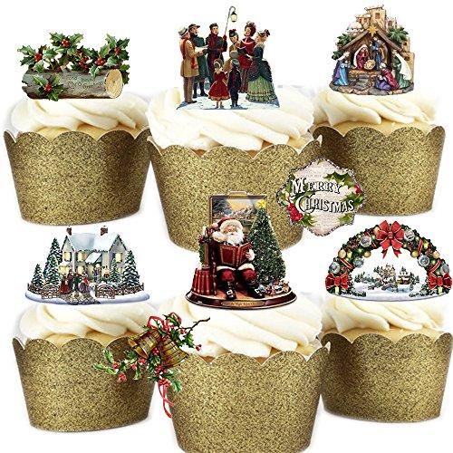Lot de 29 décorations de gâteaux en papier gaufrette comestible sur le thème de Noël victorien vintage