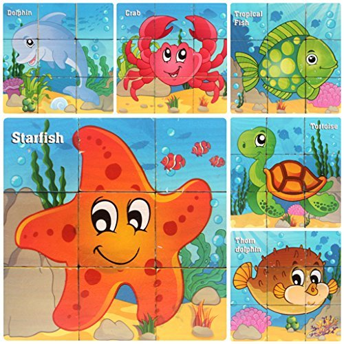 Wooden Blocks for 3 4 5 Years Old Toddlers Kids ... (Sea Animals)