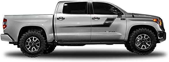 Factory Crafts Side Stripe Graphics 3M Vinyl Decal Wrap Compatible with Toyota Tundra CrewMax 2014-2017 - Matte Black
