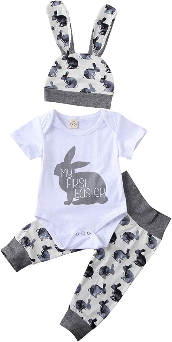 Newborn Baby Boys Girls Easter Outfits My 1St Easter Letter Short Sleeve Romper+Rabbit Long Pants+Hat Clothes Set