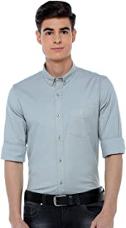 ADNOX Oxford Lycra Plain Full Sleeve Cotton Slim Fit Shirt for Men