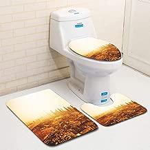 MTSJTliangwan Home Bathroom 3 Piece Sets, Included Bath Area Rug+Contour Mat+Lid Toilet Seat Cover Dubai Skyline with Downtown on The Desert Flannel Carpet