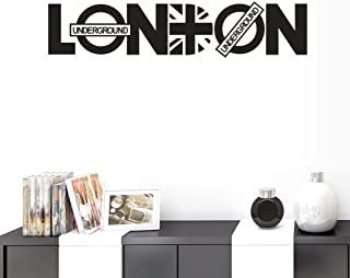 BIBITIME English Lettering Words London Underground Wall Decal Vinyl Quotes Flag Sign DIY Home Art PVC Posters Papers Subway Exit Shop Glass Window Stickers