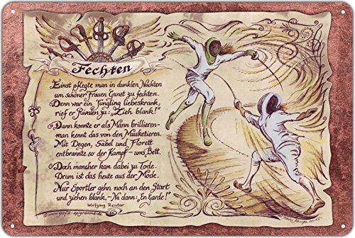 Die Staffelei Geschenk Blechschild Fechten 30 x 20 cm Bild, Zeichnung mit Gedicht