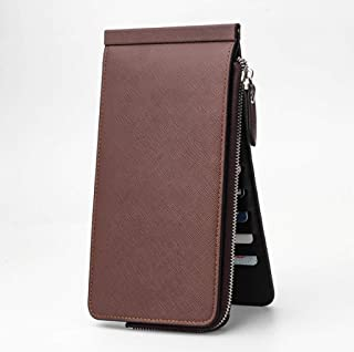 Men's and women's leather card case wallets, coin purse with 26 card slots and zipper pockets, large-capacity business car...
