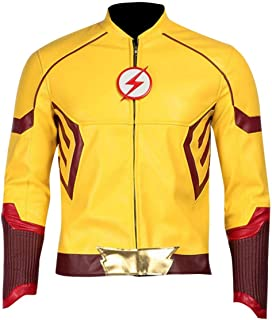 KAAZEE Mens Slimfit Superhero Flash Yellow Cosplay Costume Leather Jacket