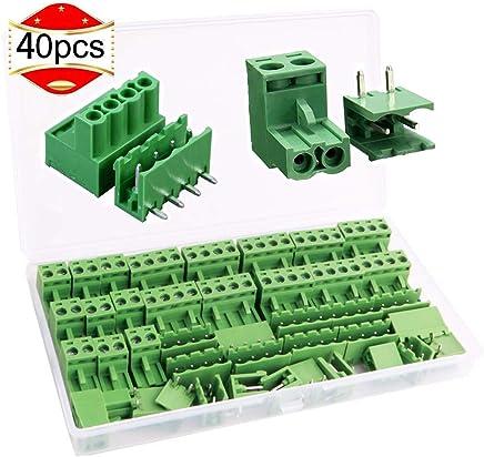 300 V Distancia entre los pines: 5 mm Haobase Valor nominal: 10 A 20 x Bloque de terminales de tornillo de 2 polos con placa PCB