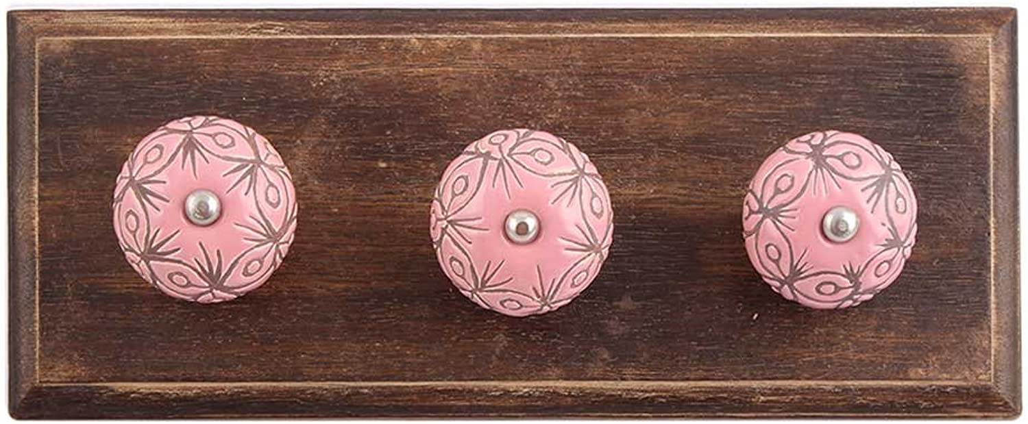IndianShelf Handmade 3 Piece Wooden Pink Etched Ceramic Wooden Antique Look Wall Hanging Key Hooks Cloth Coats Hangers Key Holders