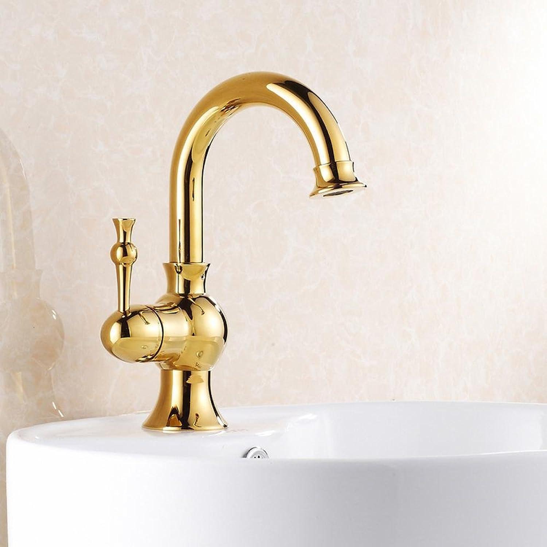 Luziang Becken mit warmem und kalten Wasserhahn Kupfer Wasserhahn europischer Goldhahn- Sicherer für in Bad WC Küche