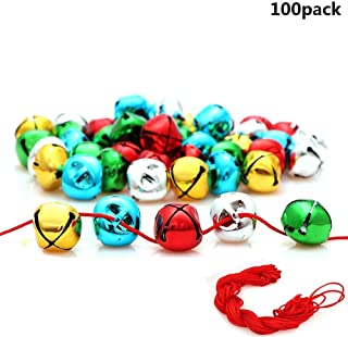 Y wang 100Pcs Jingle Bells, 1 Inch Craft Bells Bulk DIY Bells Colorful Christmas Bells for Craft Festival Decoration Home Decoration(with 88ft Red Cord)