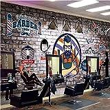 MGQSS Papier peint mural Auto-adhésif 3D Salon de coiffure vintage dessiné à la main photo Rétro Style industriel thème fond d'écran affiche moderne art mur décoration personnalité Gra(L)300x(H)210 cm