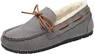 Hzjundasi Winter Moccasin Women, Soft Indoor Outdoor Warm Slippers with Plush Lining Low-Top Loafers Flat Shoes