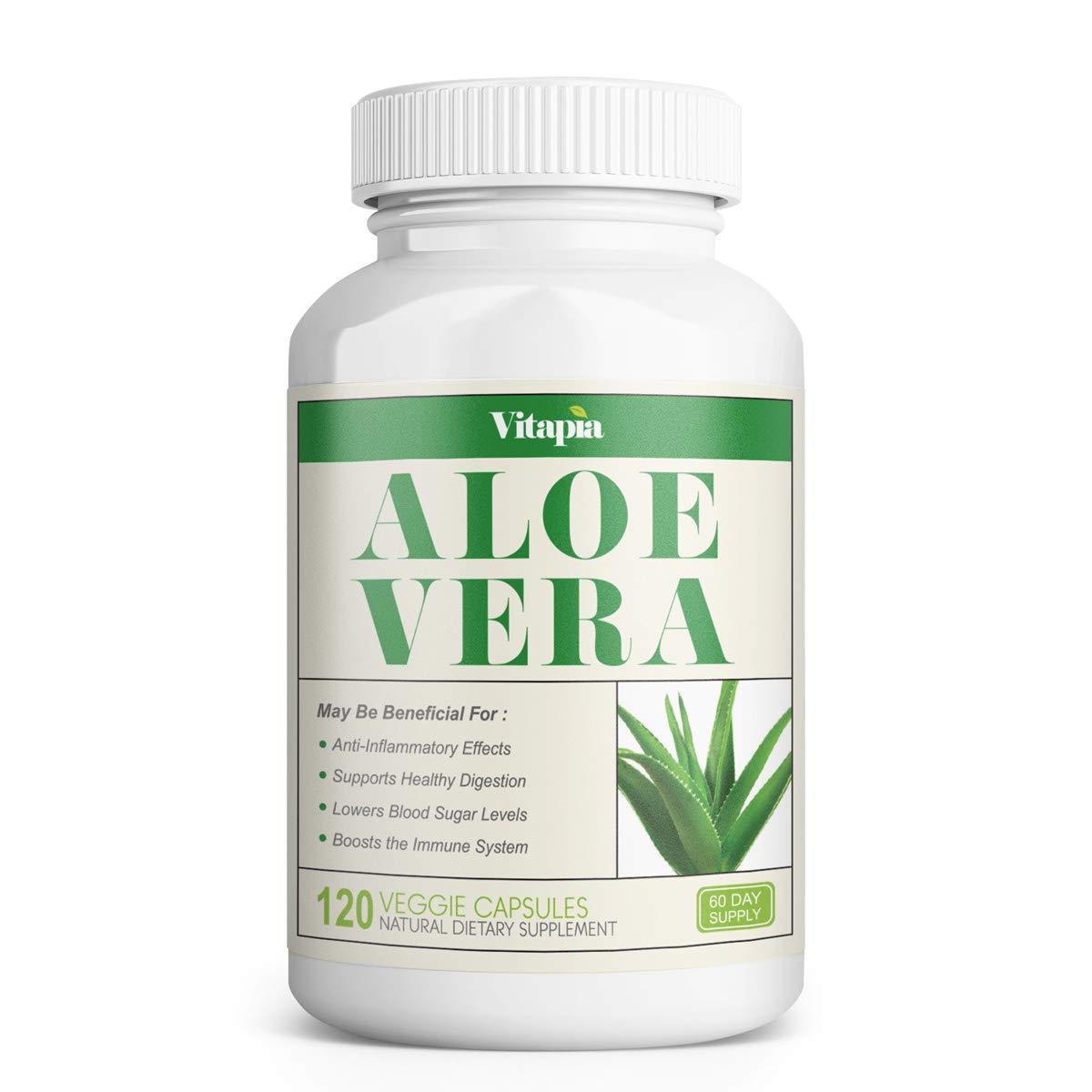 Vitapia Aloe Vera 1000mg - 120 Veggie Capsules - Vegan and Non-GMO - Aloe Vera Supplement - Supports Digestive Health & Healthy Blood Sugar Levels, Anti-Inflammatory