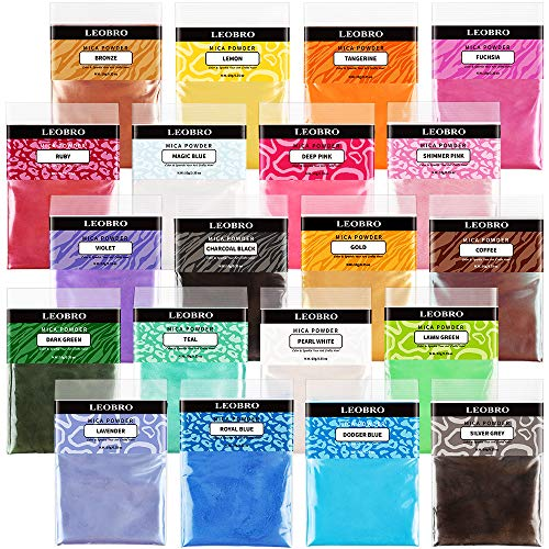 20 Colors Resin Dye for Resin Molds, LEOBRO 20 Pack 10g Mica Powder with 45 PCS Resin Casting Tools, Perfect Resin Pigment Kit for DIY Epoxy Resin Crafts, Jewelry, Keychains, Soap, Eyeshadow Making
