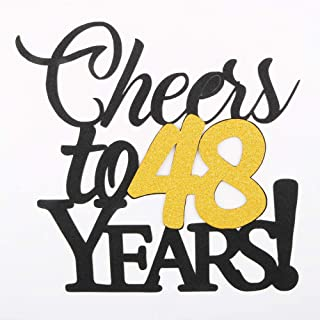 LVEUD Happy Birthday Cake Topper Black Font Golden Numbers Cheers to 48 Years Happy Birthday Cake Topper -Wedding,Anniversary,Birthday Party Decorations (48th)
