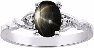 Anillo de zafiro con estrella negra y diamante en oro blanco de 14 quilates solitario