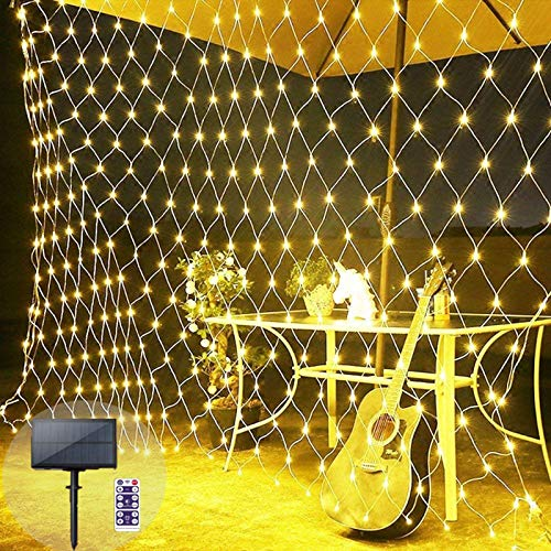 Solar Powered Net String Lights 2 X 3M Mesh Fence Fairy Light Garden Tree Wrap Twinkle Lights with Remote for Lawn Outdoor Indoor Background Decor Christmas,White