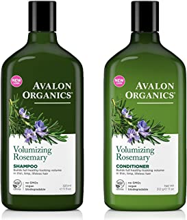 Avalon Organics All Natural Rosemary Volumizing Shampoo and Conditioner With Aloe, Lavender, Chamomile, Grapefruit and Babassu Oil, Sulfate Free, Paraben Free, Cruelty Free and Vegan, 11 fl. oz. each