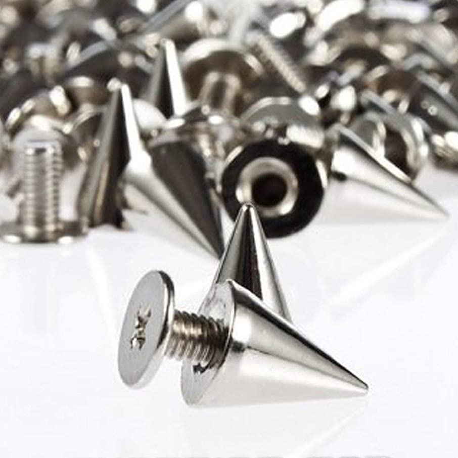 200pcs 7mmx9.5mm Silver Clothes Rivet Cone Spikes Screwback Studs DIY Craft Cool Rivets Punk DIY Leather Crafts