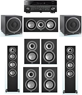 ELAC Uni-Fi 7.2 System with 2 ELAC UF5 Floorstanding Speakers, 1 ELAC UC5 Center Speaker, 4 ELAC UB5 Speaker, 2 ELAC Debut S12EQ Powered Subwoofer, 1 Yamaha RX-A770 A/V Receiver