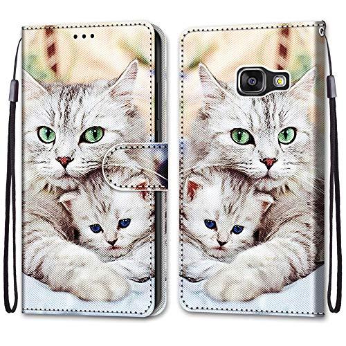 JMTALL Compatible con Samsung Galaxy A3 2016 Funda de piel sintética con diseño de gatos con soporte para tarjetas, cierre magnético, protección a prueba de golpes para Samsung A310F Galaxy A3 2016