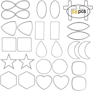 OBSEDE Stainless Steel Charms Assorted Geometric Hollow Pendants Frame DIY Crafts for Earring Necklace Jewelry Making Findings, Circle Heart Square Rectangle Moon Star Cross Shape,56pcs