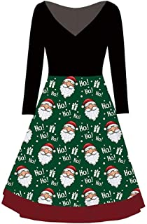 jin&Co Merry Christmas Dresses for Women Mrs. Claus Santa Long Sleeve V-Neck Print Vintage Party Swing Dress, Wife Gift