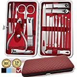 Manicure Set, 19 in 1 Stainless Steel Professional Pedicure Kit Nail Scissors Grooming Kit with Leather Travel Case Great Gift for Men and Women(Red)
