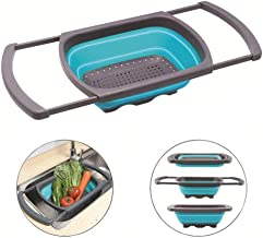 XHBEAR Colander Collapsible, Colander Strainer Over The Sink Vegtable/Fruit Colanders Strainers with Extendable Handles, Folding Strainer for Kitchen,6 Quart