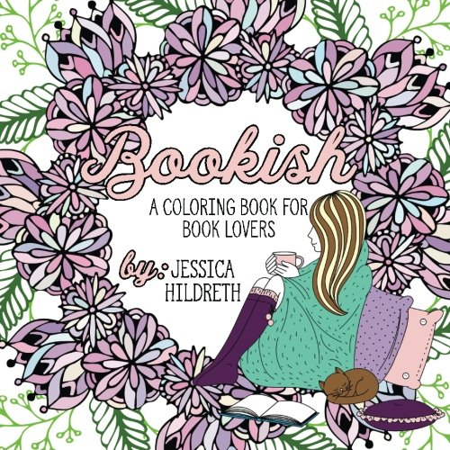 Book lovers adult coloring book