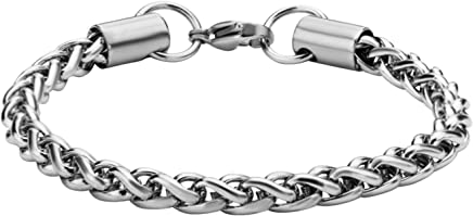 40db4df91 Jewelry Brands Women's Stainless Steel Shiny Wheat Chain Bracelet