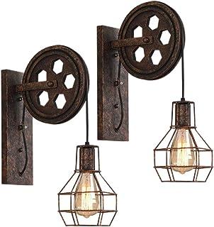 2 Pack Industrial Aplique Vintage Lámpara de Pared Retro Creativo Forma de Jaula con Polea Iluminación Restaurante Sala de estar Dormitorio Pasillo (2pack)