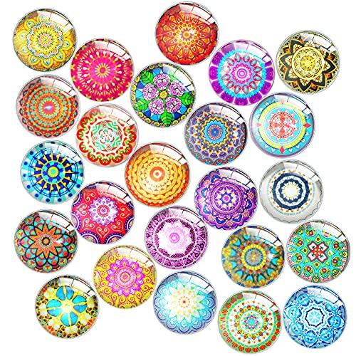 COTTONIX Imanes Nevera con Diseño de Mandala 24PCs, Imanes Pizarra para Pizarra Magnética, Pizarra Blanca, Nevera, Tablón de Anuncios, Armario de Cocina (Imán duro)