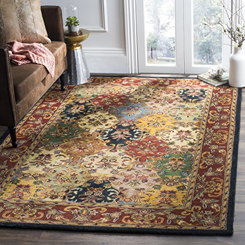 Safavieh Heritage Collection HG911A Handmade Traditional Oriental Multi and Burgundy Wool Area Rug (7'6' x 9'6')