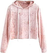 Women Teen Girls Vogue Velvet Hoodies Crop Top Long Sleeve Hooded Pullover Tops Blouse