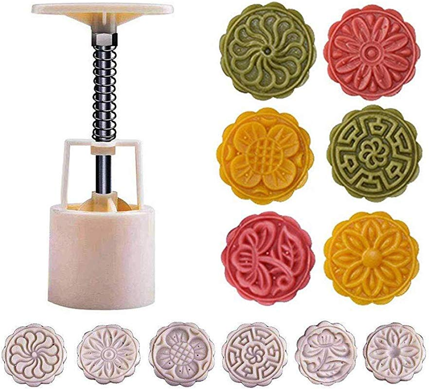 Powerful Mooncake Mold Circle Flower Square Mid Autumn Festival Hand Press 50g 75g 100g Moon Cake Cutter Molds Set 50g