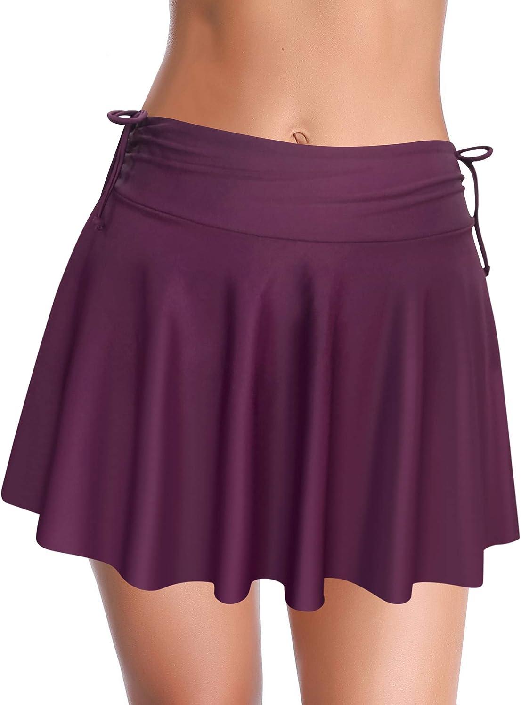 SHEKINI Women's Swim Skirt Swimdress Side Drawstring Bikini Bottom Tankini Skirt