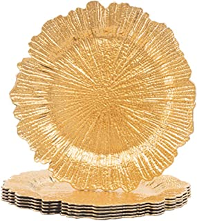 MAONAME Round 13 Inch Plastic Charger Plates, Golden Service Plate for Kitchen, Dining, Wedding, Elegant Decoration (6, Gold)