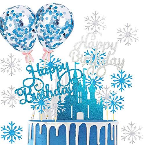 26 Stück Schloss Schneeflocke Tortendeko,Eiskönigin Tortendeko,Happy Birthday Kuchendeko Kuchen Topper Blau Konfetti-Luftballons und Schloss Schneeflocke für Tortendeko Geburtstag,Kuchen deko mädchen