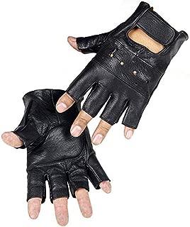 Fingerless Genuine Leather Gloves for Men Half Finger Driving Sport Gloves Black Long Keeper
