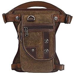 KAUKKO Men's Canvas Waist Pack Travel Sports Outdoor Leg Bag Multi Pack Leg Bag Brown