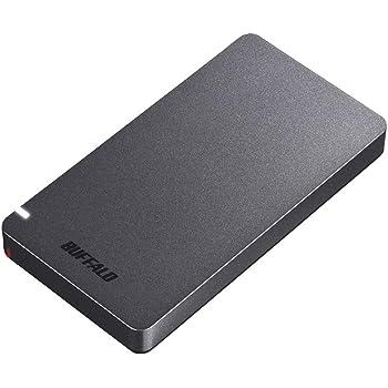 BUFFALO USB3.2Gen2 ポータブルSSD 960GB 名刺サイズ 読込速度530MB/s 日本製 PS4(メーカー動作確認済) 耐衝撃・コネクター保護機構 ブラック SSD-PGM960U3-B/N