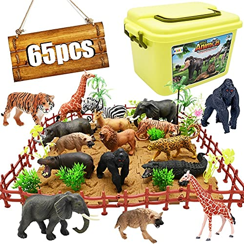 Safari Animals Figurines Toys  65PCS Realistic Jungle Zoo Animals Figures African Wild Plastic Animals Playset with Elephant  Lion  Giraffe  Fence  Puzzle Blocks for Kids 3 4 5 6 7 8 Years Old