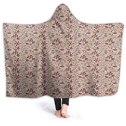Timdle Sherpa tragbare Decke Poncho für Erwachsene Frauen M?nner Retro verzierten Mandala warm, weich, gemütlich, kuschelig, Komfort Geschenk, Keine ?rmel 50W von 40H Zoll (mit Kapuze)