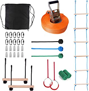 leofit Ninja Obstacle Course for Kids 40 Foot Slack Line with 8 Hanging Obstacle Course Kit Ninja Warrior Training Line for Backyard Play