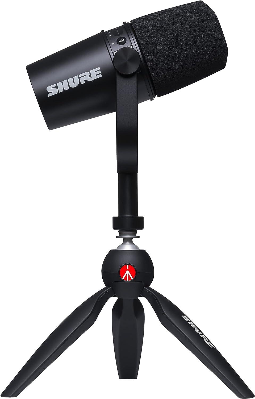 MV7 Micrófono USB con trípode para realizar podcasts, grabar, hacer streaming y jugar, salida de auricular integrada, micrófono dinámico USB/XLR de metal, tecnología de aislamiento de voz