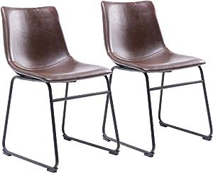 RFIVER 2 Sillas de Comedor de Estilo Retro Cómoda con Asiento en Cuero Sintético y Base de Metal Duro para Cocina Salon Dormitorio Escritorio de Color marrón BS1003