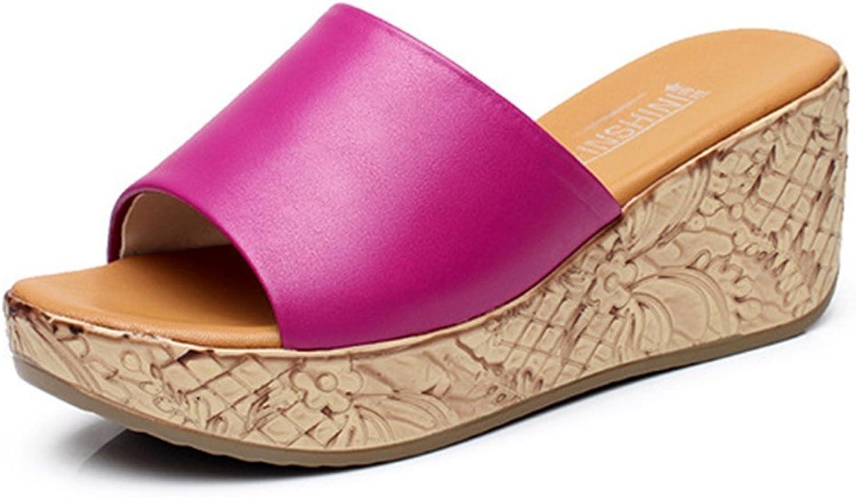 Btrada Women Peep Toe Platform Slide Anti-Slip Wedge Beach Sandals