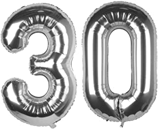 CC Wonderland 40 Inch Silver 30th Birthday Number Balloons 30 Foil Balloon for Birthday Anniversary Party Decoration